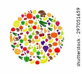vegetables and fruits icon... | Shutterstock .eps vector #297051659