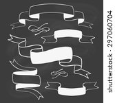 set of hand drawn ribbon... | Shutterstock .eps vector #297060704
