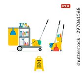 flat vector trolley with... | Shutterstock .eps vector #297061568