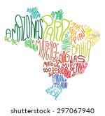 lettering map of brazil | Shutterstock .eps vector #297067940