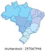 polygonal map of brazil | Shutterstock .eps vector #297067946