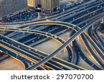 aerial view of highway road... | Shutterstock . vector #297070700