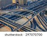 aerial view of highway road... | Shutterstock . vector #297070700