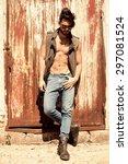 handsome man model dressed punk ... | Shutterstock . vector #297081524