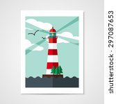 poster with red lighthouse on... | Shutterstock .eps vector #297087653