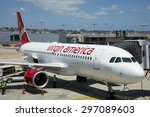 Small photo of SAN DIEGO, CALIFORNIA - JUNE 5, 2015: Virgin America is a United States-based airline that began service on August 8, 2007. Virgin America was the brainchild of Sir Richard Branson.