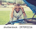 young stressed man having... | Shutterstock . vector #297092216