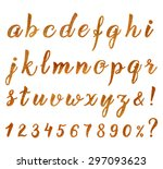 autumn golden hand drawn font... | Shutterstock .eps vector #297093623
