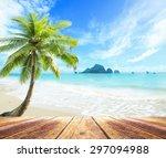 summer holiday concept  wooden... | Shutterstock . vector #297094988