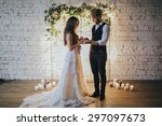 girl in a white wedding dress... | Shutterstock . vector #297097673
