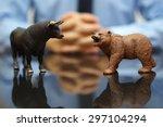 businessman is watching bull... | Shutterstock . vector #297104294