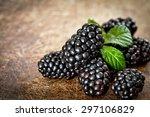 Blackberries On Wooden...
