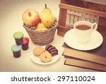 tea with cookies and fruit | Shutterstock . vector #297110024