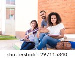 group of students sitting on... | Shutterstock . vector #297115340