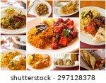variety of popular indian food... | Shutterstock . vector #297128378