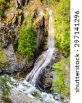 Waterfall into River at North Cascades National Park