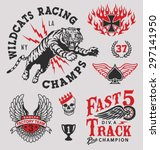 vintage racing emblem graphics | Shutterstock .eps vector #297141950