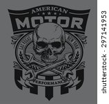 motor skull shield design | Shutterstock .eps vector #297141953