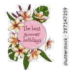 summer hand drawn floral... | Shutterstock .eps vector #297147359