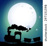silhouette train riding on... | Shutterstock .eps vector #297151598