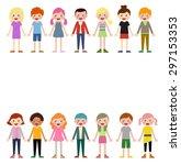 group of children set   Shutterstock .eps vector #297153353