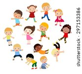 group of kids | Shutterstock .eps vector #297153386