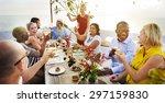 diverse people cheers... | Shutterstock . vector #297159830