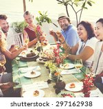 diverse people hanging out... | Shutterstock . vector #297162938