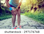 woman runner hold her sports... | Shutterstock . vector #297176768