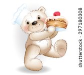 bear scullion carrying a cake.... | Shutterstock .eps vector #297180308