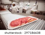 Raw Meat Cuts On A Conveyor...