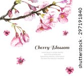 Watercolor Cherry Blossom. Han...