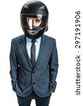 businessman with racing helmet  ... | Shutterstock . vector #297191906