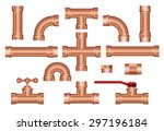 vector brass pipeline... | Shutterstock .eps vector #297196184