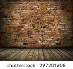 old grunge interior with brick... | Shutterstock . vector #297201608