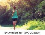 runner athlete running on... | Shutterstock . vector #297205004