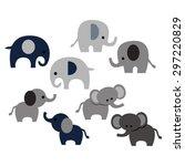 Stock vector elephants cute vector 297220829