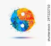 vector watercolor. ying yang... | Shutterstock .eps vector #297222710