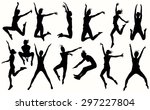 jumping girls silhouettes in... | Shutterstock .eps vector #297227804