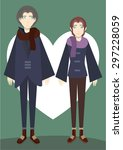 winter lover in a warm coat... | Shutterstock .eps vector #297228059