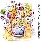 cooking sketch isolated on... | Shutterstock .eps vector #297228920
