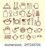 vector kitchen and restaurant... | Shutterstock .eps vector #297233720