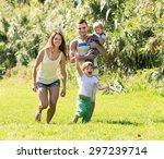portrait of smiling family of... | Shutterstock . vector #297239714