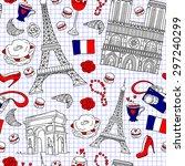 seamless french travel pattern. ... | Shutterstock .eps vector #297240299