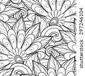 vector seamless monochrome... | Shutterstock .eps vector #297246104