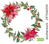 watercolor vector christmas... | Shutterstock .eps vector #297246554