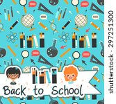 back to school seamless pattern.... | Shutterstock .eps vector #297251300
