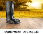 Wooden Floor And Shoes Of Blac...
