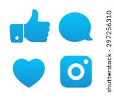 beautiful social icons buttons... | Shutterstock .eps vector #297256310