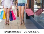 close up of two women walking... | Shutterstock . vector #297265373